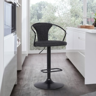 Damien Contemporary Adjustable Barstool in Black Powder Coated Finish and Black Fabric