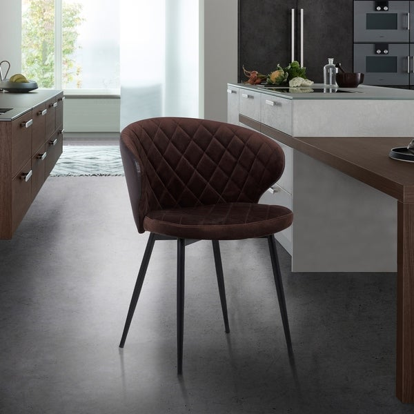 Melissa Contemporary Dining Chair in Black Powder Coated Finish and Faux Leather