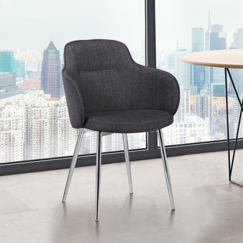 Sonny Contemporary Dining Chair in Charcoal Fabric