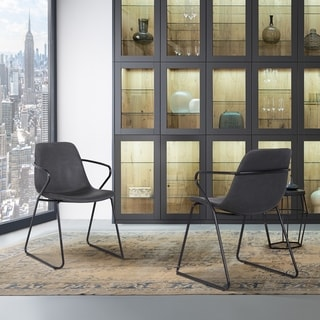 Hutchin Contemporary Dining Chair in Grey Faux Leather - Set of 2