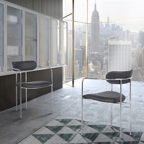 Danica Contemporary Dining Chair in Chrome Finish with Grey Faux Leather - Set of 2