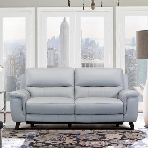 Anna Dove Grey Genuine Leather Contemporary Sofa