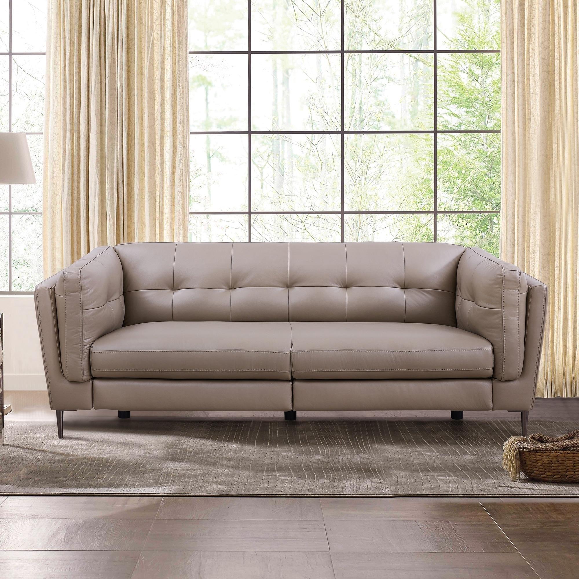 Sandra Genuine Leather Contemporary Sofa
