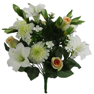 Artificial 18 Stem  Lily,Rose Bud,Mum Mixed Bush - CREAM MIX