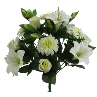 Artificial 18 Stem  Lily,Rose Bud,Mum Mixed Bush - CREAM /GREEN