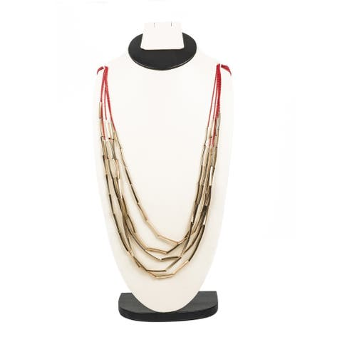 Stylish Red and Gold Multilayer Necklace By Gempro