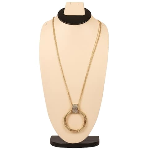 Pretty Long Multi-ring Necklace By Gempro - Orange