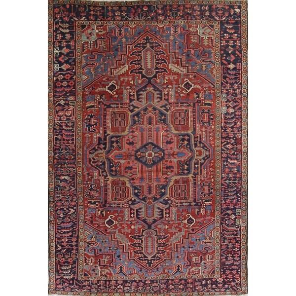 "Heriz Serapi Geometric Handmade Wool Persian Oriental Area Rug - 11'2"" x 7'9"""