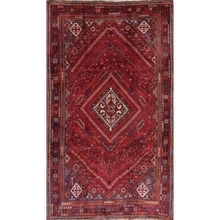 "Antique Shiraz Tribal Geometric Handmade Wool Persian Area Rug - 9'7"" x 5'8"""