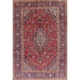 "Kashan Floral Medallion Traditional Handmade Wool Persian Area Rug - 9'6"" x 6'5"""