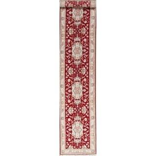 "One of a Kind Tabriz Floral Handmade Wool & Silk Oriental Persian Rug - 16'4"" x 2'10"" Runner"