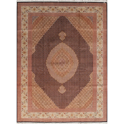"Tabriz Medallion Geometric Handmade Wool with Silk Persian Area Rug - 11'6"" x 8'1"""