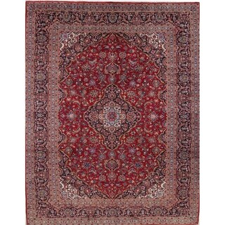 "Kashan Floral Medallion Traditional Handmade Wool Persian Area Rug - 12'9"" x 9'8"""
