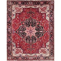 "Heriz Serapi Geometric Handmade Wool Persian Oriental Area Rug - 12'10"" x 9'6"""