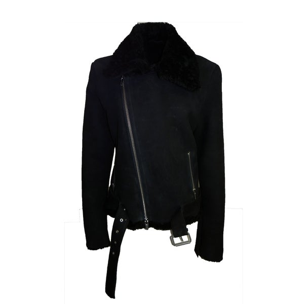 The Arrivals Suede Shearling Moto Jacket