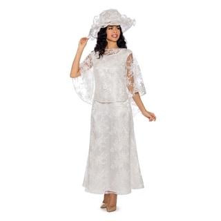 Giovanna Signature Women's 2-pc White Lace Dress w/ Hi-Lo Pull Over Lace Cape