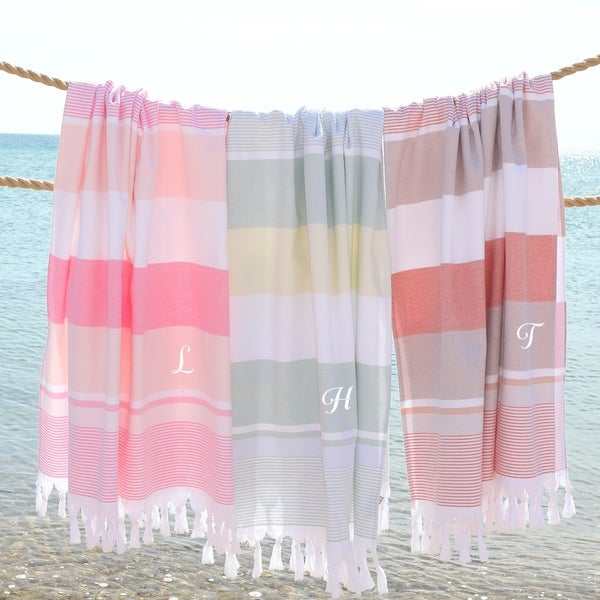 Authentic Pestemal Summer Loving Striped Monogrammed Turkish Cotton Bath and Beach Towel