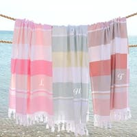 Authentic Pestemal Summer Loving Striped Monogrammed Turkish Cotton Bath and Beach Towel - N/A
