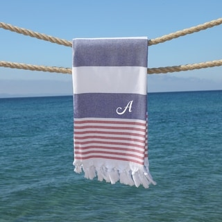 Authentic Pestemal Sam Striped Monogrammed Turkish Cotton Bath and Beach Towel