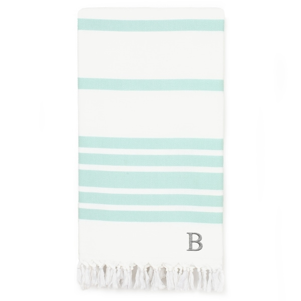 Authentic Pestemal Aqua Herringbone Monogrammed Turkish Cotton Bath and Beach Towel
