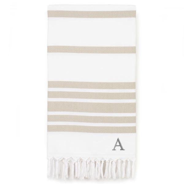 Authentic Pestemal Beige Herringbone Monogrammed Turkish Cotton Bath and Beach Towel