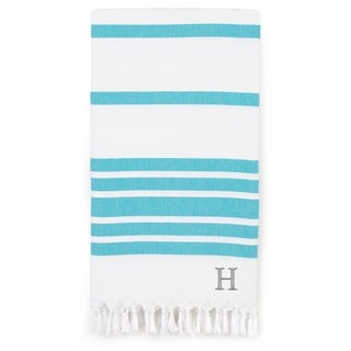 Link to Authentic Pestemal Turquoise Blue Herringbone Monogrammed Turkish Cotton Bath and Beach Towel Similar Items in Towels