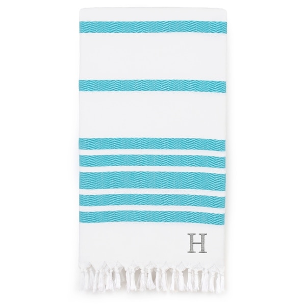 Authentic Pestemal Turquoise Blue Herringbone Monogrammed Turkish Cotton Bath and Beach Towel - N/A