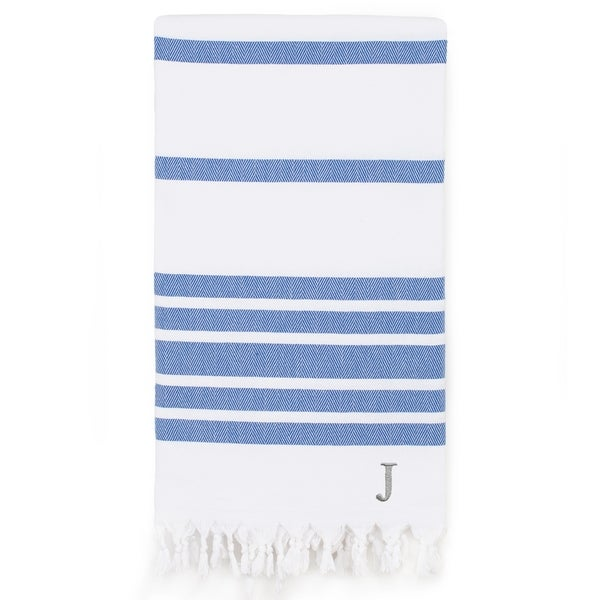 Authentic Pestemal Royal Blue Herringbone Monogrammed Turkish Cotton Bath and Beach Towel - N/A