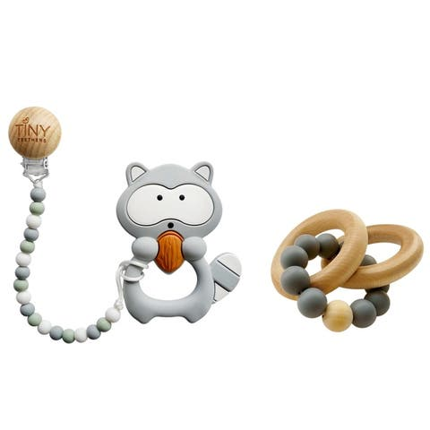 Tiny Teethers Large Silicone Teether and Wooden Rattle Gift Set