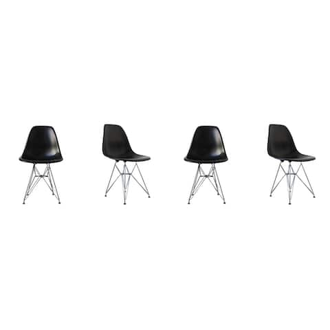 Mid-Century Eiffel Style Dining Chair with Metal Legs - Black (Set of Four)