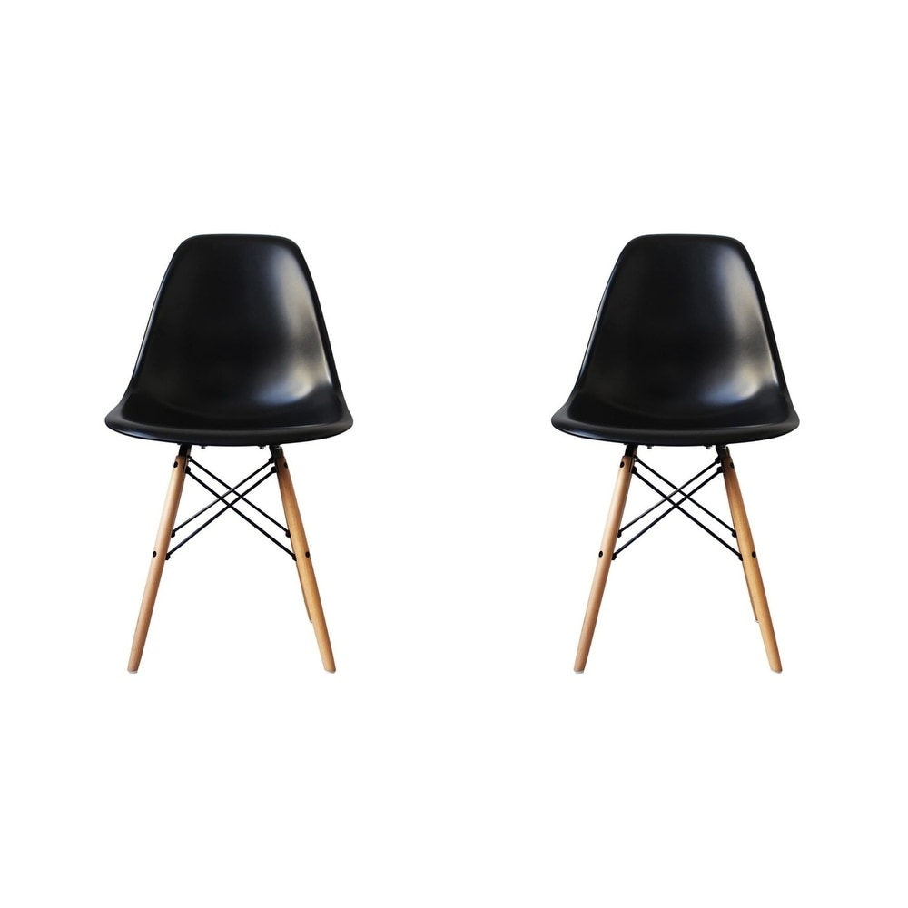 Admirable Details About Mid Century Modern Eiffel Style Dining Chair With Wood Legs Black Set Of Two Dailytribune Chair Design For Home Dailytribuneorg