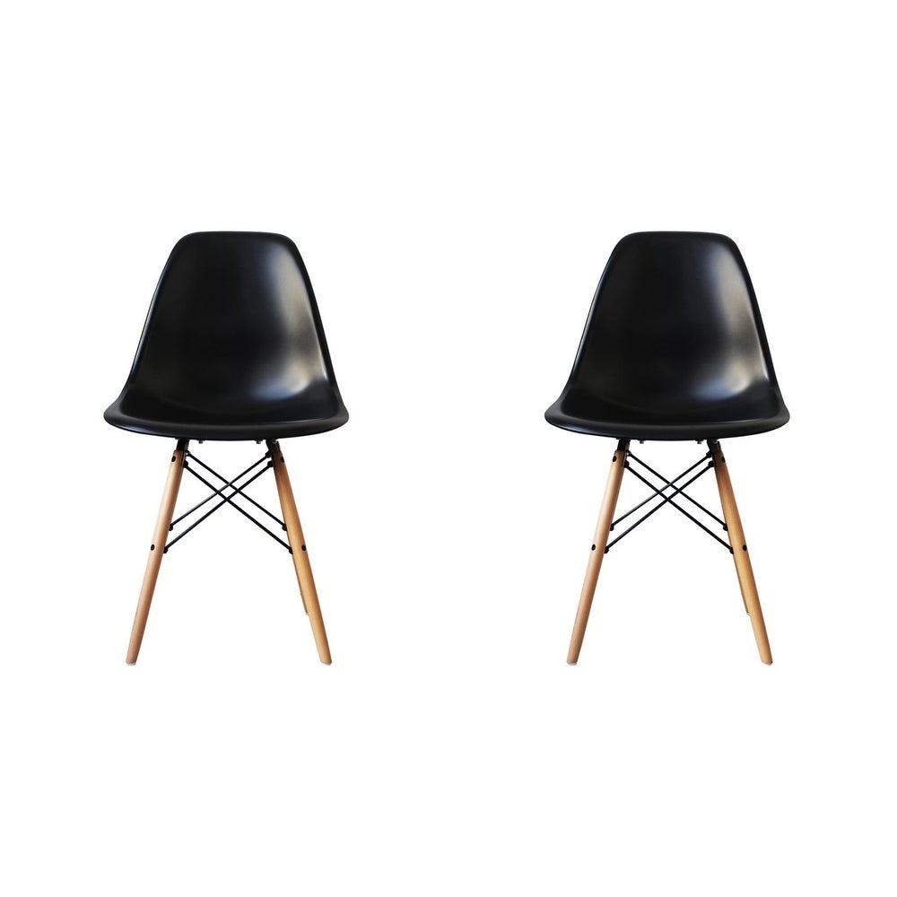Fantastic Details About Mid Century Modern Eiffel Style Dining Chair With Wood Legs Black Set Of Two Creativecarmelina Interior Chair Design Creativecarmelinacom