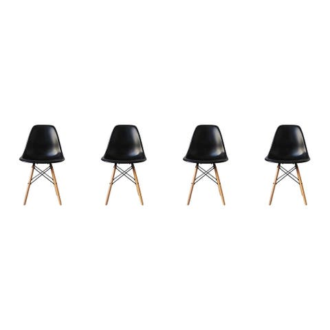 Mid-Century Modern Eiffel Style Dining Chair with Wood Legs - Black (Set of Four)