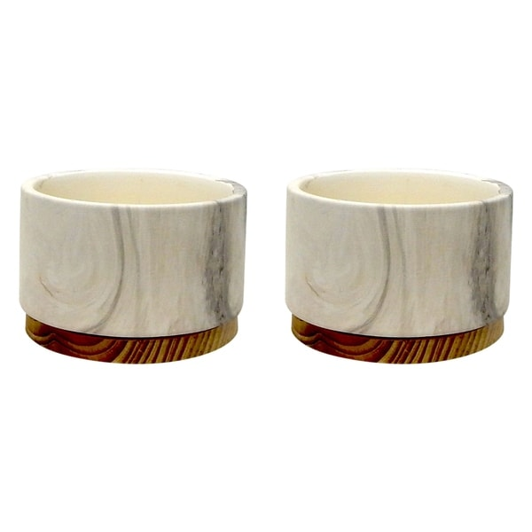 Set of 2 Marble Finish Cement Pot with Wooden Base