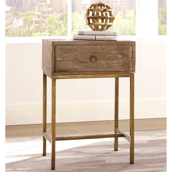Modern Weathered Wood Design and Antique Gold Base Accent Table
