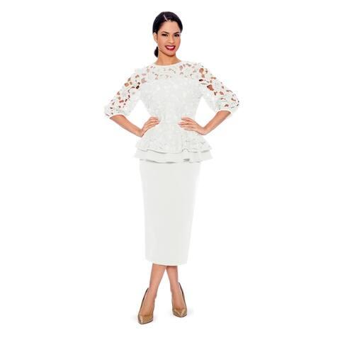 Giovanna Signature Women's 2-piece Peplum Lace Top & Skirt
