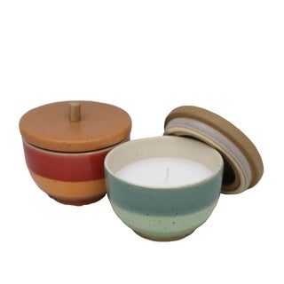 Ceramic Outdoor Citronella Candles in Bowls, Assortment of Two, Multicolor