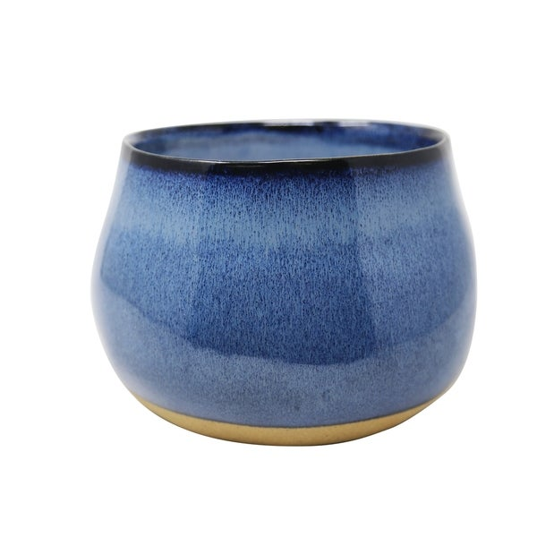Ceramic Outdoor Citronella Candle in Bowls, Blue and Gold