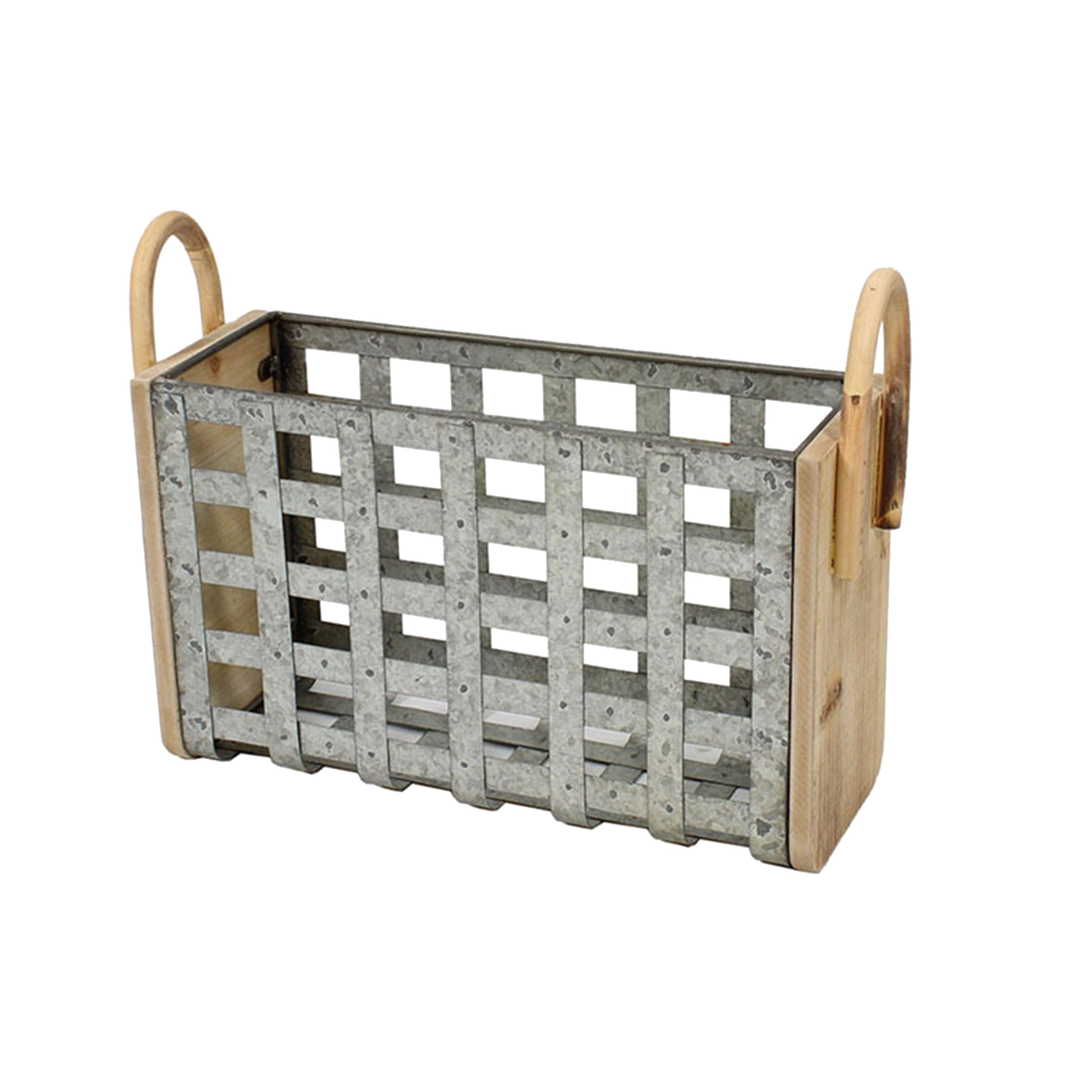 Transitional Style Tin and Wooden Woven Galvanized Basket with Two Handles, Gray and Brown
