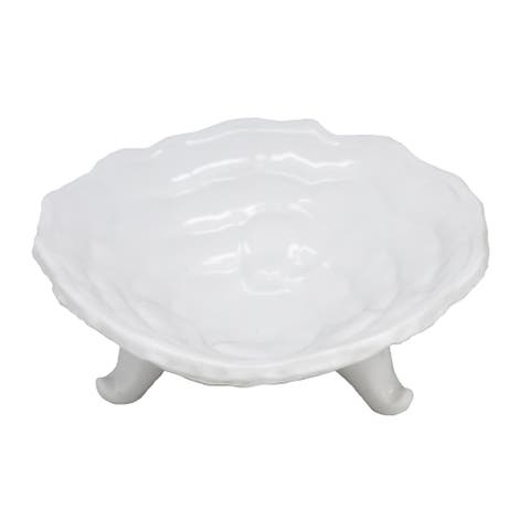 Contemporary Ceramic Footed Bowl, White