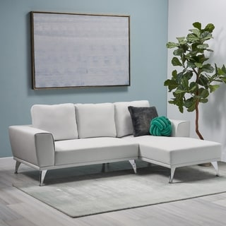 Connel Modern Faux Leather Chaise Sectional by Christopher Knight Home