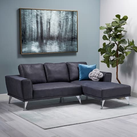 Connel Modern Microfiber Chaise Sectional by Christopher Knight Home