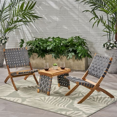 Huntsville Outdoor Foldable 2 Seater Acacia Wood Chat Set with Strapping Belt Accents by Christopher Knight Home