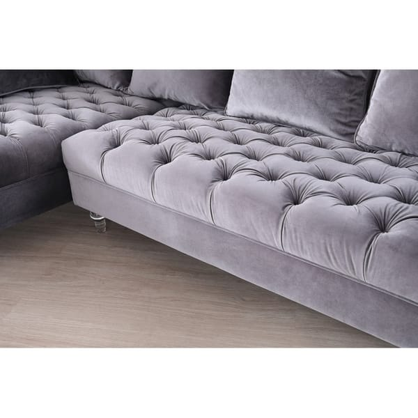 Cool Shop Silver Orchid Purviance Grey Velvet Sectional Sofa On Ibusinesslaw Wood Chair Design Ideas Ibusinesslaworg