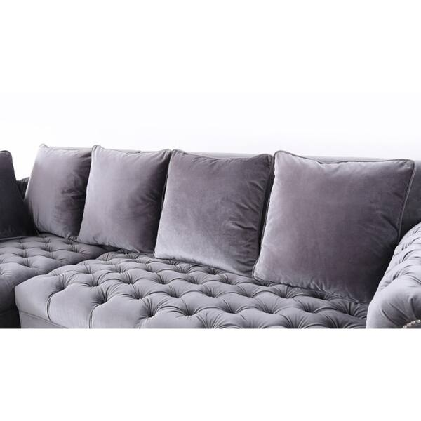 Surprising Shop Silver Orchid Purviance Grey Velvet Sectional Sofa On Ibusinesslaw Wood Chair Design Ideas Ibusinesslaworg