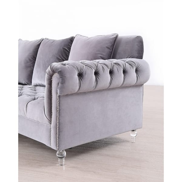 Swell Shop Silver Orchid Purviance Grey Velvet Sectional Sofa On Ibusinesslaw Wood Chair Design Ideas Ibusinesslaworg