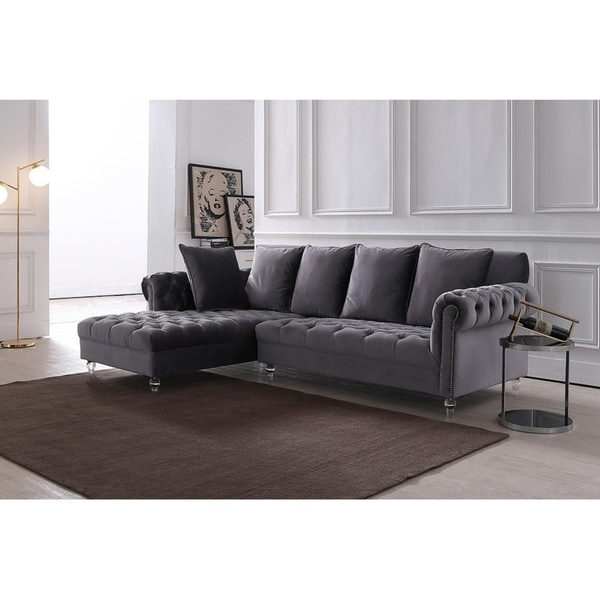 Shop Silver Orchid Purviance Grey Velvet Sectional Sofa