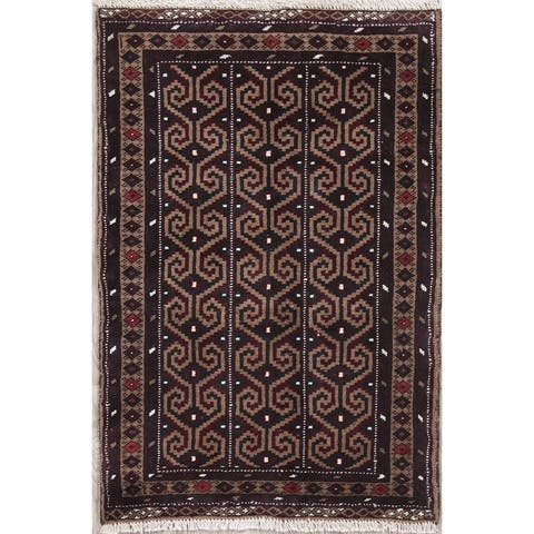 """Balouch Geometric Hand-Knotted Wool Persian Oriental Area Rug - 3'8"""" x 2'6"""""""