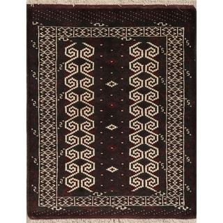 """Balouch Geometric Hand-Knotted Wool Persian Oriental Area Rug - 3'7"""" x 2'8"""""""