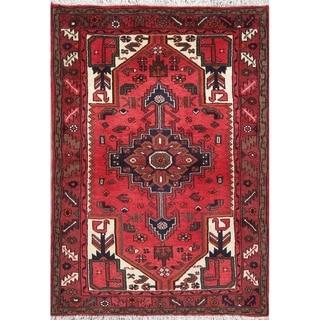 "Hamedan Geometric Hand-Knotted Wool Persian Oriental Area Rug - 4'7"" x 3'3"""